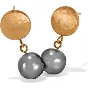 Mediterranean Grey Pearl Post Earrings by Brighton